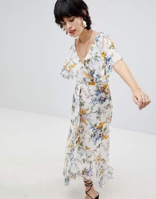 Warehouse Wrap Front Floral Midi Dress