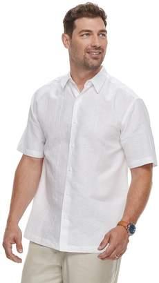 Men's Havanera Short Sleeve Linen Geo Panel Embroidered Button-Down Shirt