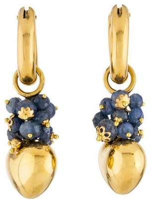 18K Sapphire Heart Drop Earrings