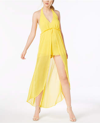 Material Girl Juniors' Halter Romper with Sheer Overlay Maxi Skirt, Created for Macy's