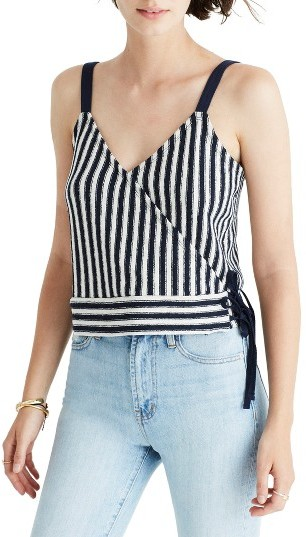 Women's Madewell Chloe Jacquard Stripe Wrap Tank