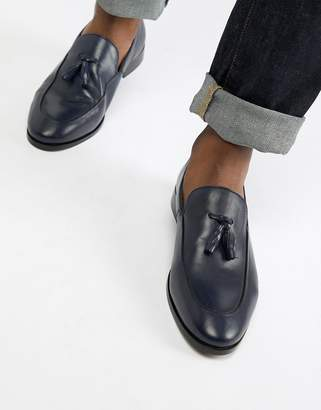 Zign Shoes tassel loafers in navy leather