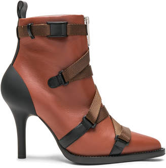 Chloé Tracy Leather Cross Strap Ankle Boots in Sepia Brown | FWRD