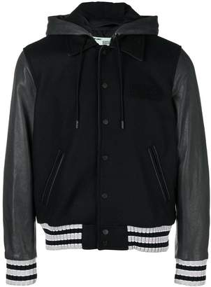 Off-White contrast bomber jacket