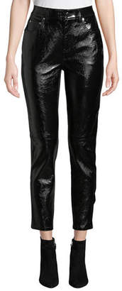 Derek Lam 10 Crosby Lou High-Waist Patent Leather Cropped Skinny Pants