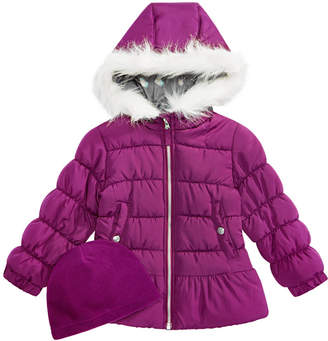 Weathertamer Little Girls Quilted Puffer Jacket & Matching Hat