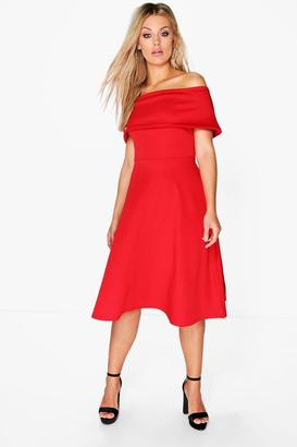 boohoo Plus Anna Off The Shoulder Midi Skater Dress $40 thestylecure.com