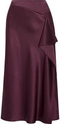 Cushnie et Ochs - Draped Silk-charmeuse Midi Skirt - Grape $795 thestylecure.com
