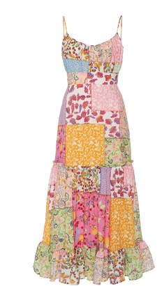Saloni Bella Patchwork-Print Strappy Cotton-Blend Midi Dress