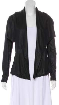 Vince Rib Knit-Paneled Leather Jacket