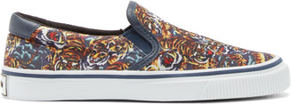 Kenzo Multicolor Flying Tiger Slip-On Sneakers $160 thestylecure.com