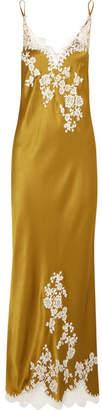 Carine Gilson Chantilly Lace-trimmed Silk-satin Nightdress - Gold