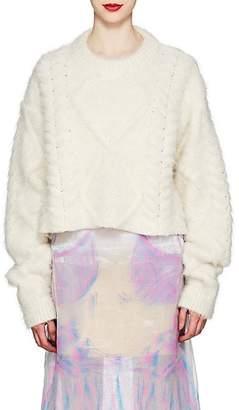 Maison Margiela Women's Brushed Cable-Knit Alpaca-Blend Sweater - White