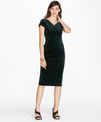 Brooks Brothers Paisley-Print Velvet Sheath Dress
