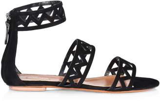 Alaia Suede Back Zip Sandals