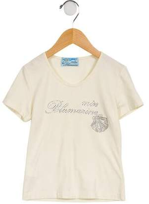 Miss Blumarine Girls' Embellished Short Sleeve Top