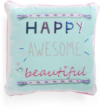 Kids 20x20 Happy Awesome Beautiful Pillow