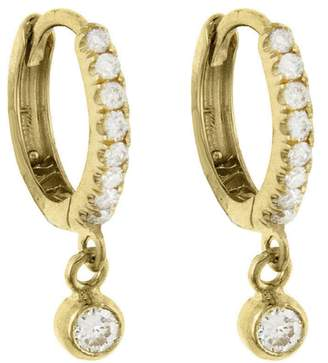 Jennifer Meyer Bezel Drop and Pavé Diamond Huggie Hoop Earrings - Yellow Gold