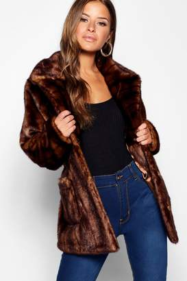 boohoo Petite Luxe Pocket Detail Faux Fur Coat