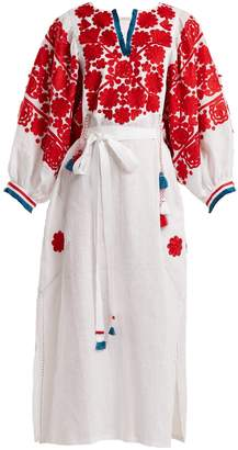 VITA KIN Tokay floral-embroidered linen dress