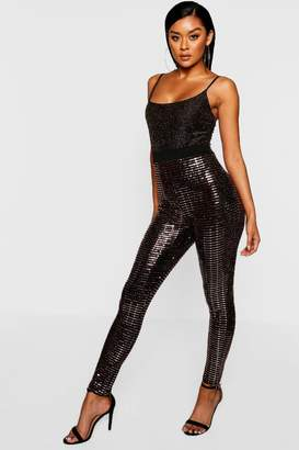 boohoo Sequin Effect High Waist Leggings