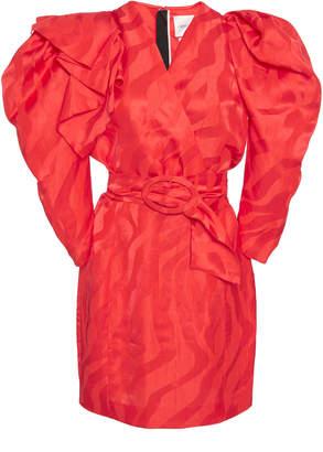 Carmen March Puff-Sleeve Linen-Blend Mini Dress