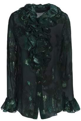 Anna Sui Ruffle-Trimmed Metallic Silk-Blend Fil Coupé Shirt