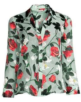 Alice + Olivia Women's Eloise Floral Button-Down Blouse - Small Rosebud Floral Powder Blue - Size XS