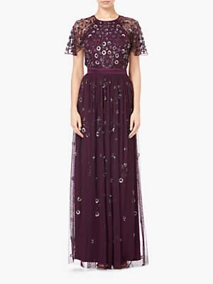 Long Beaded Short Sleeve Dress, Night Plum