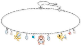 "Swarovski Tri-Tone Crystal & Imitation Pearl Ocean-Motif 11-3/4"" Slider Choker Necklace"
