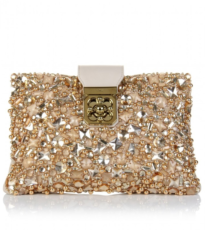 Chloé ELSIE CRYSTAL-EMBELLISHED LEATHER CLUTCH