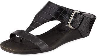 Donald J Pliner Dylan Crocodile-Embossed Wedge Sandal