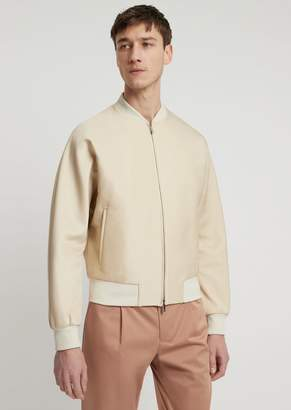 Emporio Armani Acetate Cotton Bomber Jacket With Graphic Embroidery On The Back