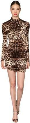 Dolce & Gabbana Leopard Stretch Satin Mini Dress