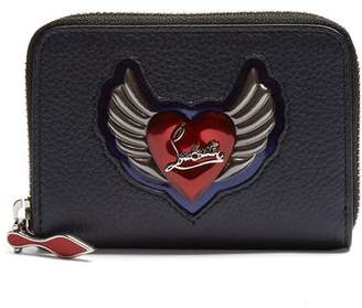 Christian Louboutin Panettone Heart Embellished Leather Coin Purse - Womens - Blue Multi