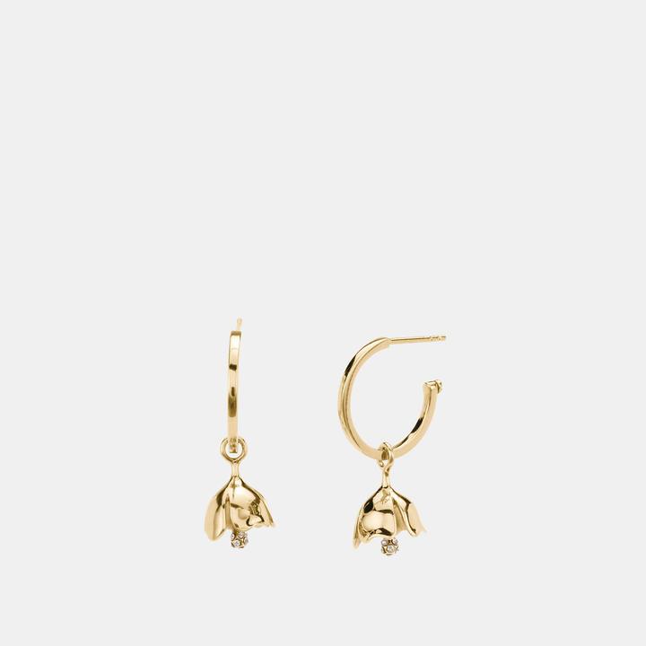 Coach  COACH Coach Mini Tea Rose Charm Hoop Earrings