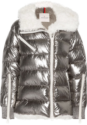 Lirio Shearling-trimmed Metallic Coated Cotton Down Coat - Silver