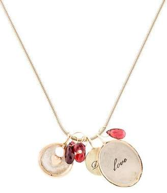 14K Multistone & Pearl Charm Necklace