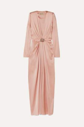 Alexandre Vauthier Embellished Draped Silk-blend Satin Gown - Blush