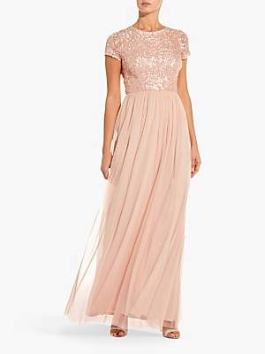 Adrianna Papell Sequin Tulle Maxi Dress