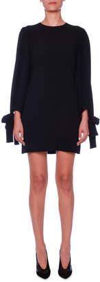 Stella McCartney Crewneck Tie-Sleeve Cady Mini Dress