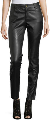 Lafayette 148 New York Mercer Mid-Rise Leather Skinny Jeans, Plus Size