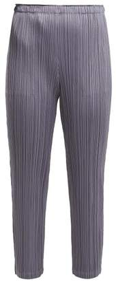 Pleats Please Issey Miyake Pleated Cropped Trousers - Womens - Mid Grey