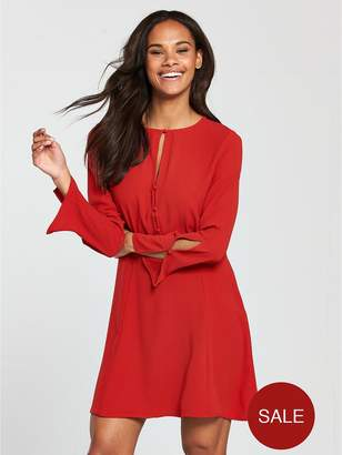 MANGO Cut Out Detail Dress - Red