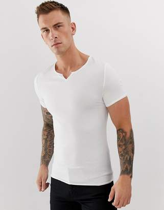 Asos Design DESIGN organic muscle fit t-shirt with raw notch neck in white