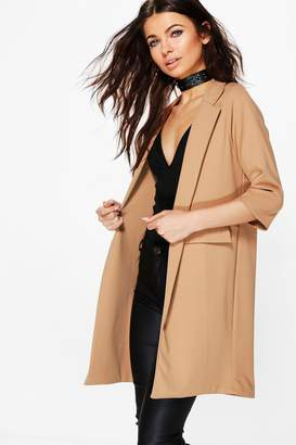 boohoo Petite Pocket Turn Up Boyfriend Blazer