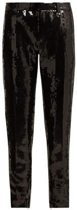 Saint Laurent Mid Rise Sequinned Satin Trousers - Womens - Black