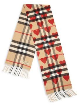Burberry Kid's Cashmere Heart Check Scarf $350 thestylecure.com