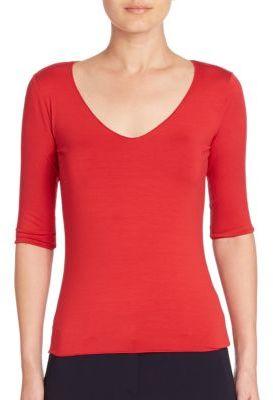 Armani Collezioni Solid Jersey Top $345 thestylecure.com