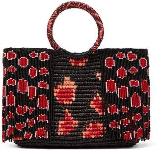 Sensi Studio - Bead Embellished Toquilla Straw Bag - Womens - Black Red